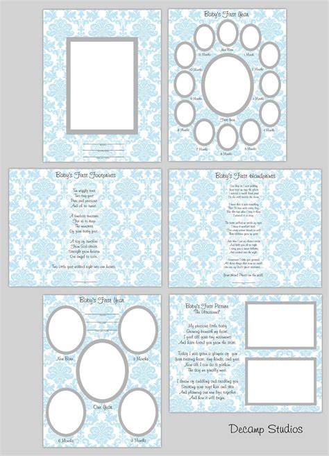 BABY BOY SCRAPBOOK Printable Quick Pages Blue Damask First