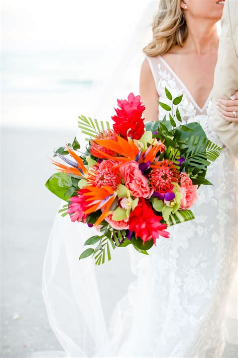 Tropical, Island Inspired Colorful Floral Bouquet, Bright